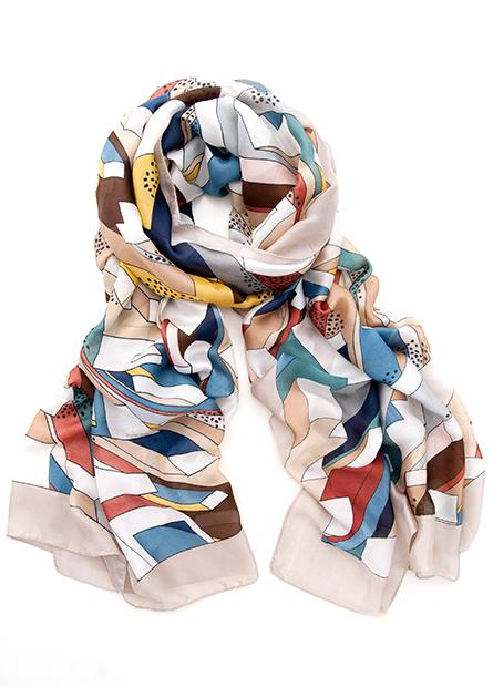 緞面印花絲巾