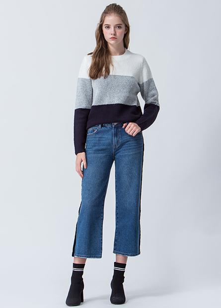 混紡側開衩毛衣
