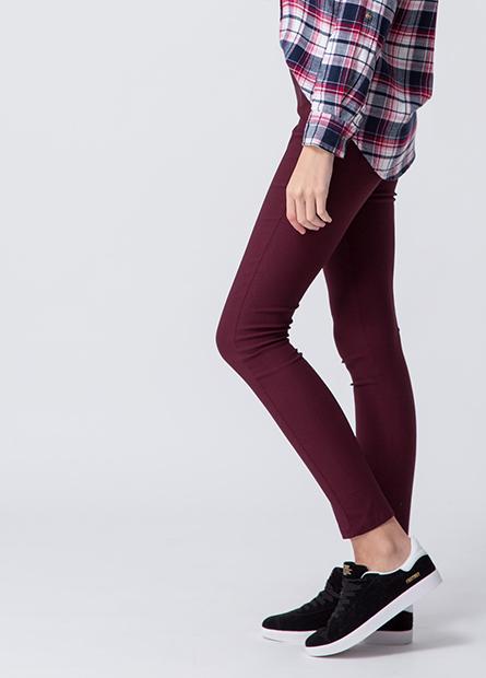 素色內刷毛緊身長褲