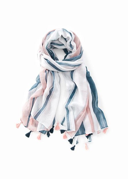 絲穗裝飾印花絲巾