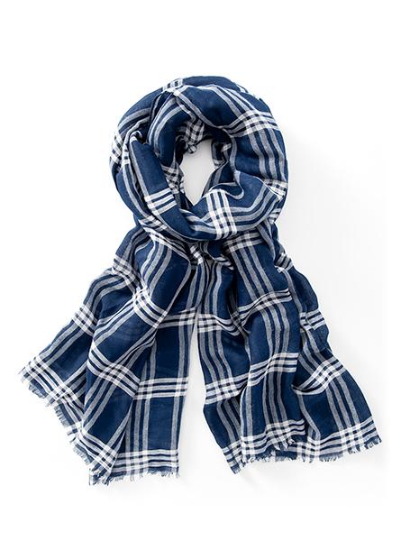格紋鬚邊絲巾