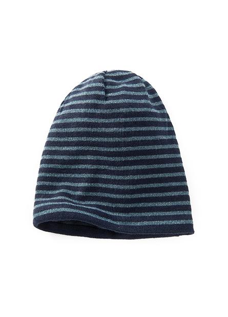 雙面戴刷毛條紋毛帽