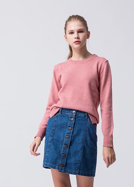 素色圓領側開衩毛衣