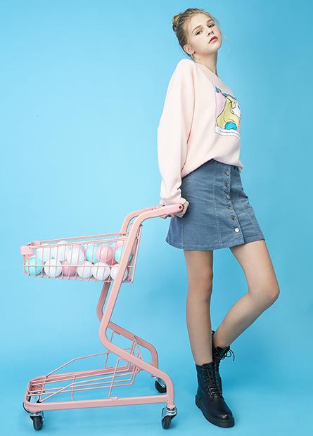 燈芯絨排釦A字短裙