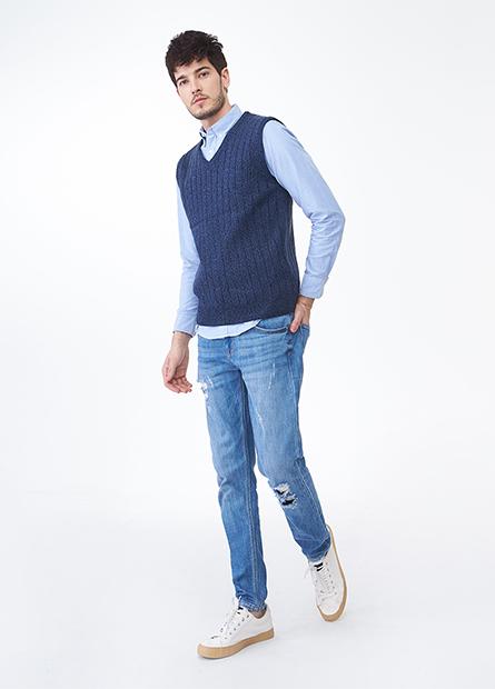 V領羅紋毛衣背心