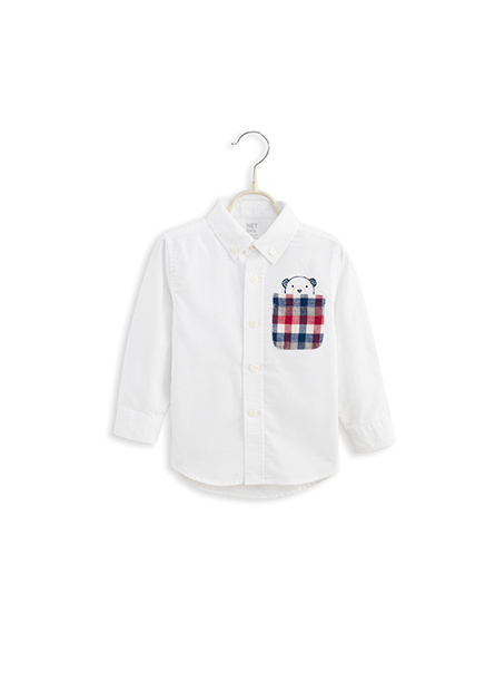 男嬰鈕釦領單口袋襯衫