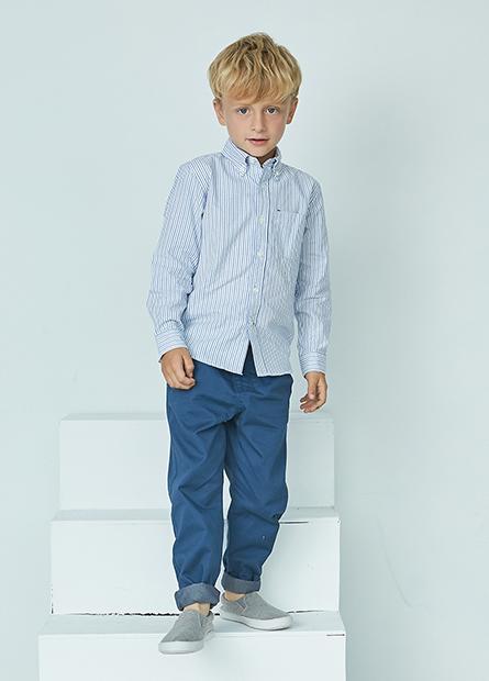 男童鈕釦領單口袋襯衫