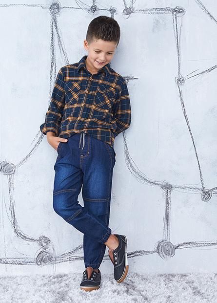 男童法蘭絨雙口袋襯衫