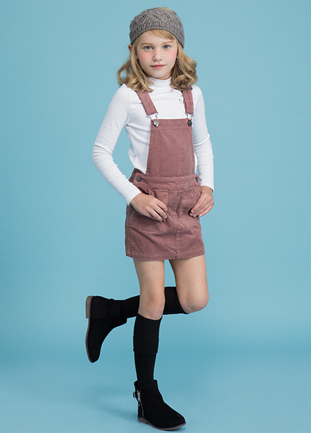 女童燈芯絨吊帶裙