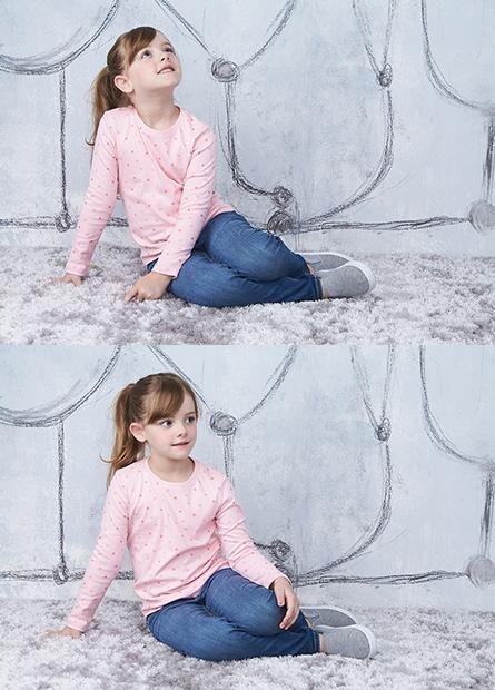 女童吸濕保暖印花上衣