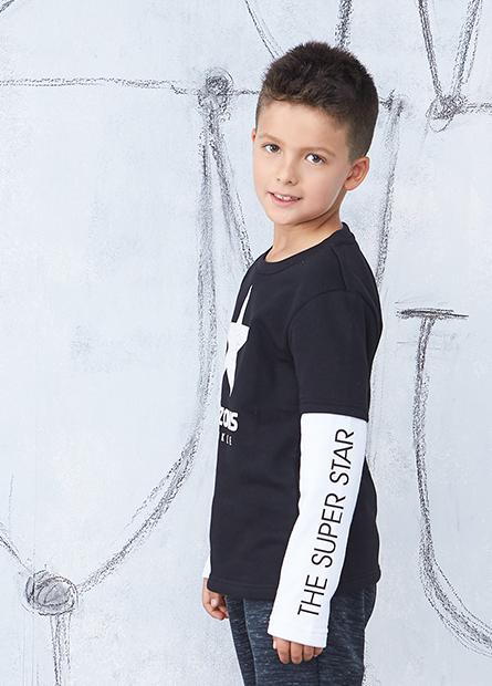 男童接袖星星印字T