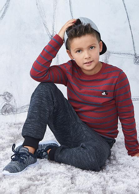 男童米奇吸濕保暖條紋T
