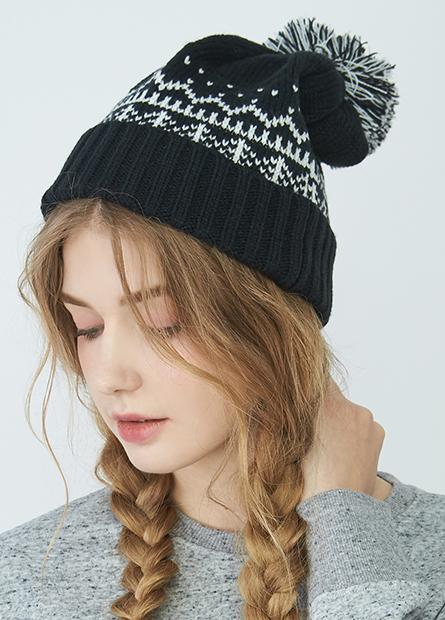 毛球提花翻邊毛線帽