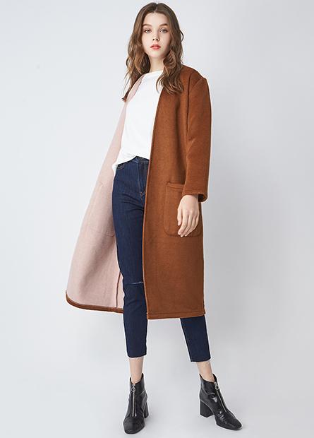 混紡羊毛格紋長版外套
