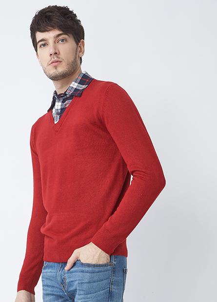 假兩件襯衫領薄毛衣