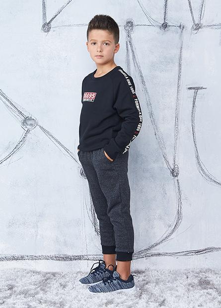 男童標語袖印字毛圈T