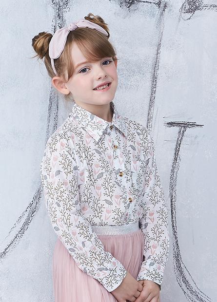 女童滿版印花口袋襯衫