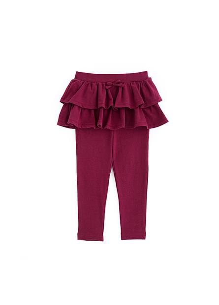 女嬰素色假兩件長褲