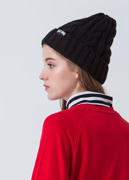 羅紋翻邊毛線帽