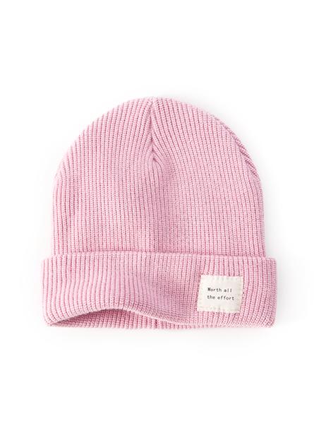 標語包芯紗翻邊毛線帽
