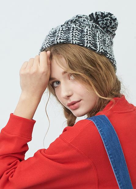 編織毛球毛線帽