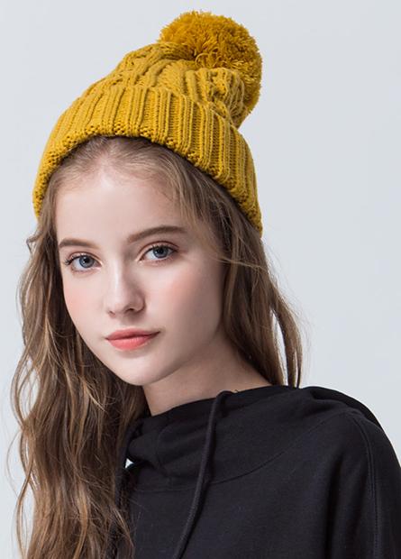 毛球麻花編織毛線帽