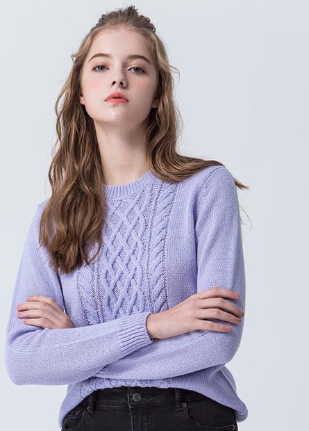素色混紡羊毛麻花毛衣