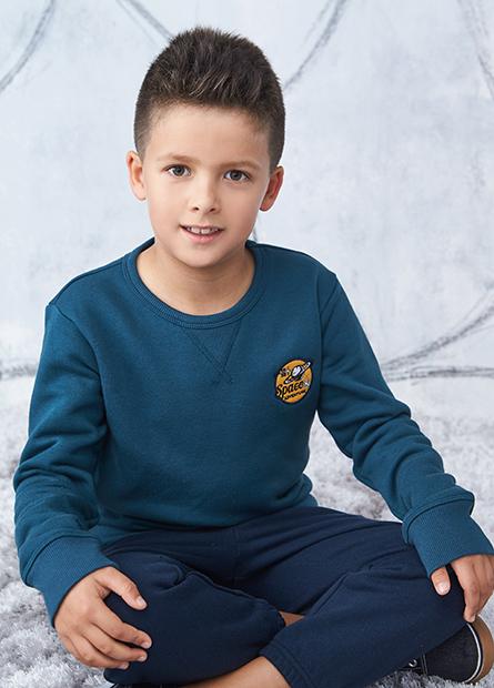 男童太空繡章內刷毛上衣