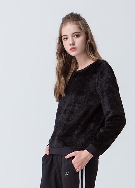 珊瑚絨素色圓領毛衣