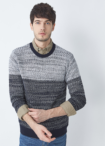 漸層圓領毛衣