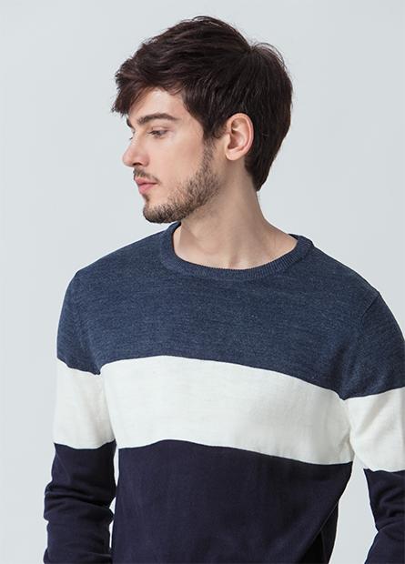 素色配條圓領毛衣