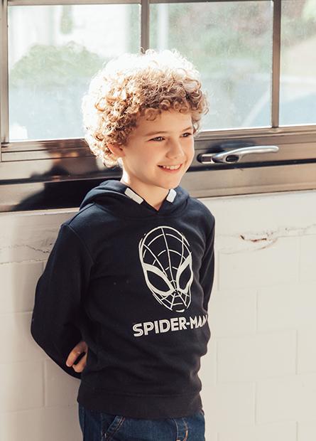 男童蜘蛛人內刷毛帽T