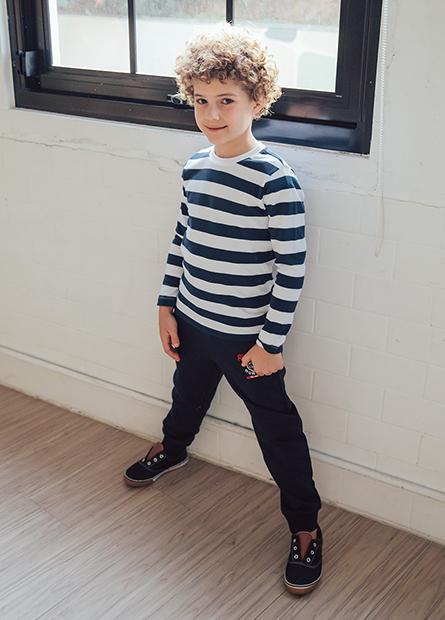 男童繡老虎內刷毛長褲