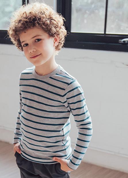 男童吸濕保暖條紋上衣