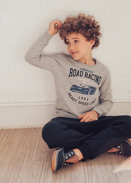 男童賽車繡字內刷毛T