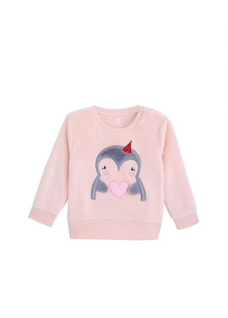 女嬰愛心企鵝珊瑚絨毛衣