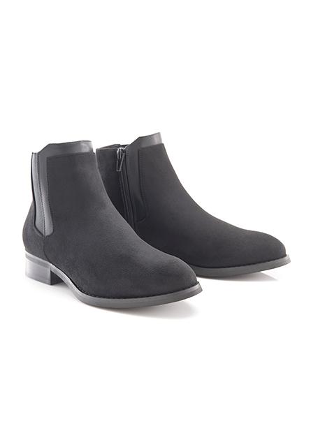 女麂皮拼布低筒靴