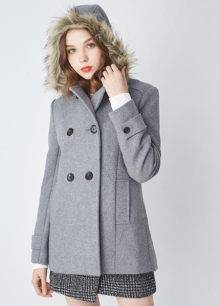 羊毛可拆連帽毛外套