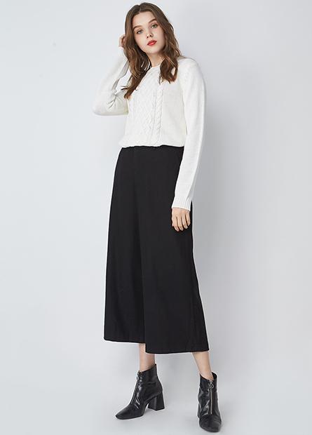素色毛料直筒寬長褲
