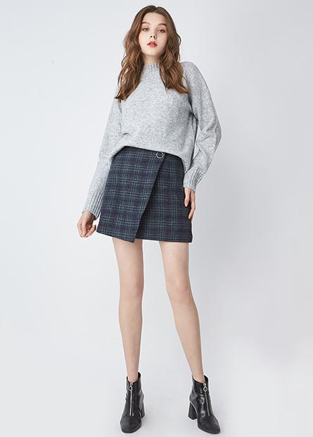 格紋後拉鍊毛料短裙