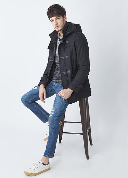 羊毛牛角釦可拆連帽外套