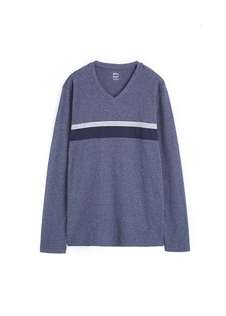 吸濕保暖拼接條紋V領上衣