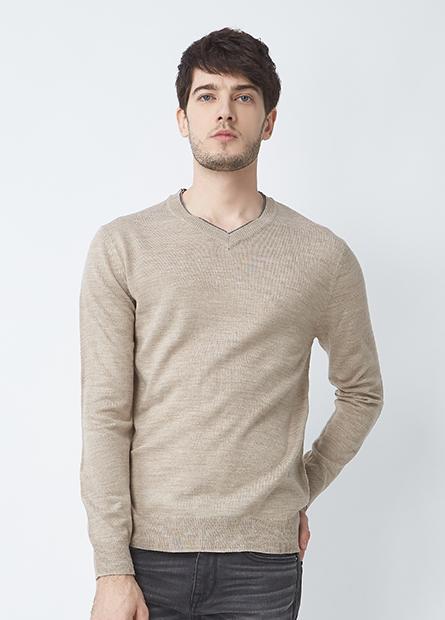 素色滾邊領毛衣