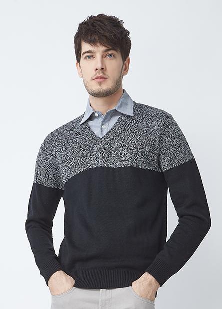 假兩件襯衫領毛衣