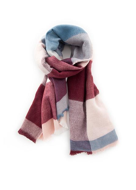 幾何色塊鬚邊圍巾