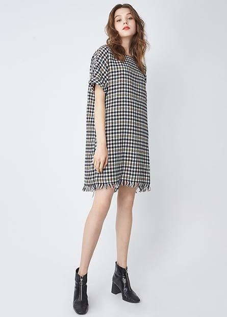 格紋鬚邊反摺短袖洋裝