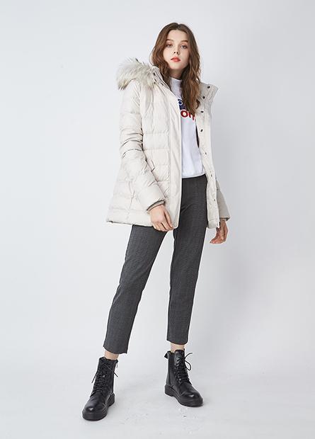 特暖羽絨長版連帽外套