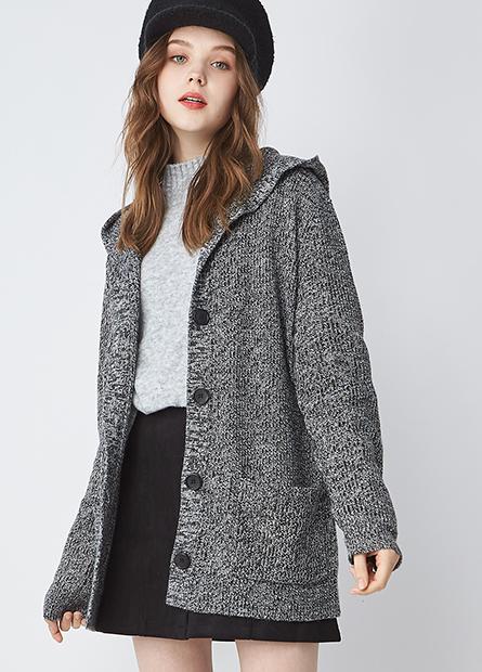 混紡羊毛連帽毛衣外套
