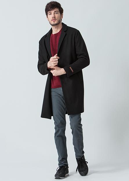 混紡羊毛素色長版外套