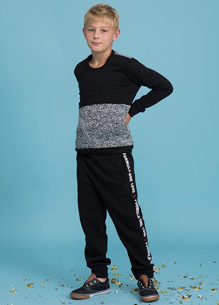 男童側邊字母內刷毛長褲